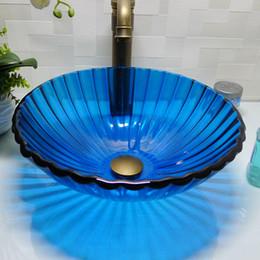 Wholesale Wash Basin Bathroom Glass Sinks - Bathroom tempered glass sink handcraft counter top round basin wash basins cloakroom shampoo vessel bowl HX013