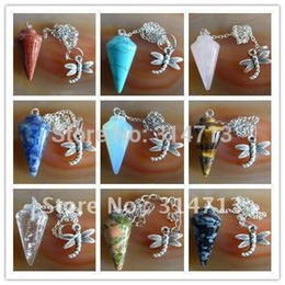 pendulum pendant bead Promo Codes - Wholesale-(Min.order 10$ mix) Beautiful Wholesale 9pcs lot mixed agate Pendulum semi-precious jewelry pendant bead WE2