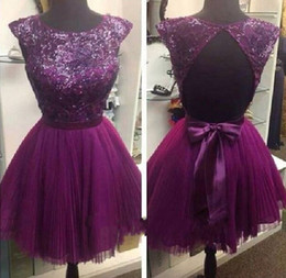 Wholesale Cut Out Back Evening Gowns - Charming Sexy A Line Short Purple Prom Dresses Sleeveless Crew Cut Out Back Sheer Bling Sequin Bridesmaid Dress Chiffon Evening Gowns