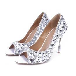 Wholesale Sexy Silver Prom Heels - Sexy Peep Toe Pumps Crystal Thin High Heels Women Fashion Customized Wedding Shoes Homecoming Party Dress Shoes Bridal Prom Pump