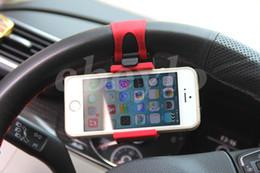 suporte de direção de carro Desconto Livre DHL Universal Car Steering Wheel Cradle Celular Titular Clipe Carro Bicicleta Suporte de Montagem Suporte Do Telefone Flexível estender a 86mm para iphon6 plus
