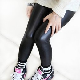 Wholesale Red Black Leather Leggings - 2-12year skinny black kid leather pants girl legging baby pants kid legging leggins girl pants child legging fantasia infantil