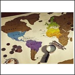 Wholesale Educational Wall Stickers - Creative Travel Scratch Map Of World Poster 88x52 cm scratch off Funny maps Wall sticker Home Decor