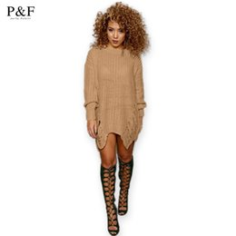 Wholesale Women S Sweaters Sexy - Wholesale-2016 New Fashion Winter Autumn Women Loose Sweater Dress Elegant vintage Dresses sexy Long Sleeve Casual Womens Clothing black