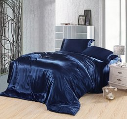 Wholesale Doona Silk - Wholesale-Dark blue bedding set silk satin california king size queen fitted bed sheets quilt duvet cover double bedspread doona 4pcs 6pcs