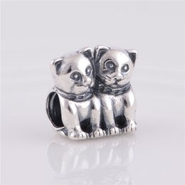 Wholesale Jewelry For Dog Lovers - LW222 Brand Sales 100%925 Sterling Silver Thread Charms Vintage Cat Dog Lover Story Beads Fit for Pandora Bracelets Women Jewelry