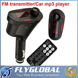 Wholesale 12v Car Music Player - Car MP3 Payer Kit Music Player Wireless FM Transmitter Radio Modulator With USB SD MMC Slot + Remote control + audio cable with Package
