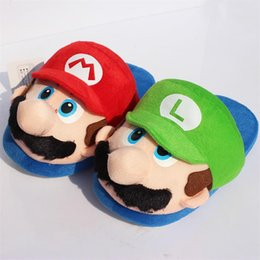 Wholesale Adult Comics Wholesale - Super Mario Bros Mario Plush slipper Home Winter Indoor Warm Slippers For Adult 27cm 5 pairs Free Shipping