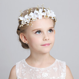 Wholesale Tiaras For Head - Charming Cute Kids Children Veils Head Pieces to Match Flower Girl Dresses 2015 White Pink Princess Garland Flower Girl Headband For Wedding