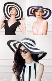 Wholesale Striped Straws Blue Free Shipping - Wholesale-8pcs free shipping 2015-411 striped lady straw hat, big brim women sun beach hat