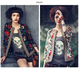 Wholesale Cotton Women Spring Jacket - 2016 Spring Women Vintage Embroidery Print Cardigan 3 4 Sleeve Fashion Lady plus size casual jackets outwear