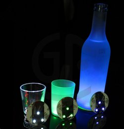 Wholesale Led Glass Coasters - Christmas LED Flashing Bottle Coaster Sticker For Drinks Glasses For Night Club And Bars Beer Party Decoration Factory Price 1000pcs