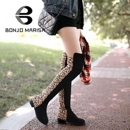Wholesale Selling Boot For Women Knee - Wholesale-Hot-Selling Winter Autumn Over The Knee High Fashion Boots For Woman Sexy Mixed Leopard Big Size 34-43 Long Boots