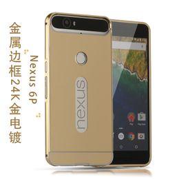 Wholesale Nexus Clear Case - Luxury Metal Bumper For Huawei Nexus 6P Following H1512 Golden Plating Mirror Clear View Aluminum Bumper Frame Metal Back Cover Case