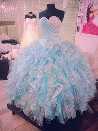 Wholesale Splendid Crystals Colored Ball Gown Quinceanera Dresses Corset Organza Ruched Sweet Dress Formal Pageant Prom Gowns Real Pictures