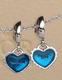 Wholesale Mother Son Bracelets - Authentic 925 Sterling Silver Piece of My Heart Mother & Son Dangle Bead with Blue Enamel Fits European Pandora Style Jewelry Bracelets