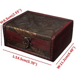 Wholesale Storage Box Wood Container - Vintage Jewelry Box Jewellery Organizer Storage Case Mini Wood Flower Pattern Metal Lock Container Handmade Wooden Small Boxes