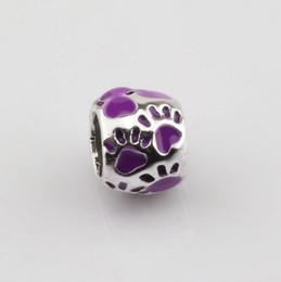 Diy pulseras venden online-Venta caliente! 50 unids 8x10mm púrpura huella de esmalte agujero grande granos del espaciador Fit pulsera DIY joyería