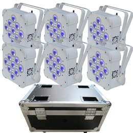 Wholesale Dmx Led Par Wireless - DMX Wireless Battery Powered Dj led slim Par light with 9pcs 18w RGBWA+UV 6-in-1 Chargeable Flightcase Pack of 6