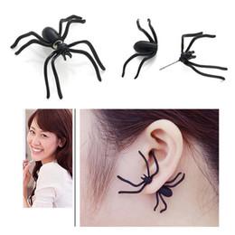 Noite brincos pretos on-line-Punk Halloween Black Spider Charm Ear Stud Earrings Evening Gift para festa Halloween Costume Brinquedos Novidade