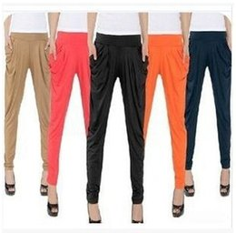 Wholesale Loose Cool Trousers - Wholesale-Harem Pants For Women Loose Ice Silk Elastic Waist Trousers Solid With Pockets Summer Cool Leggings Casual Pants X-0242