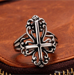 Wholesale Titanium Gold Alloy Ring - European and American trade jewelry vintage jewelry ring titanium steel cross men's stainless steel jewelry wholesale
