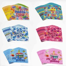 Wholesale Napkins Cartoon Decorations - Birthday Party Paper Placemats Napkin Wood Pulp Eco Friendly Cartoon Baby Tissue MINI Handkerchief Serviettes SD909