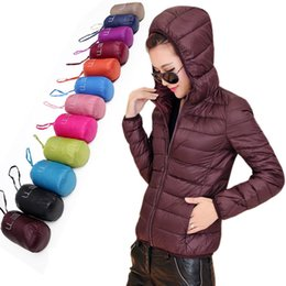 Wholesale Womens Orange Coats - Wholesale-Womens Lady Duck Down Ultralight Hooded Puffer Jacket Coat Outdoor Packable