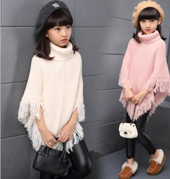 Wholesale Cape Poncho Shawl Kids - Big girls shawl scarves kids knitting high collar poncho children tassel cape christmas Gown winter girl princess warm coat KKA3448