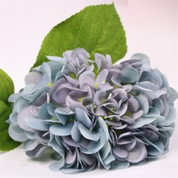 Flores artificiales de color azul oscuro online-24 unids Nueva flor aritificial rosa azul púrpura azul oscuro amarillo hortensia para deshierbar toque real hortensias flor artificial