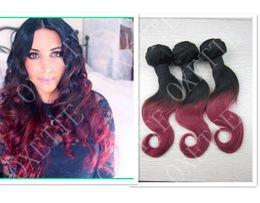 Oxette malaio on-line-Oxette Borgonha Ombre extensões de cabelo, duas cores de tom (# 1T # Burg), em linha reta ou corpo Ondulado, 3 pcs 100% Cabelo Virgem Malaio, ombre tecer