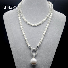 Wholesale Exquisite Silver Jewelry - Sinzry Exquisite Jewelry Aaa Cubic Zircon Simulated Pearl Pendant Long Sweater Necklaces Korean Party Jewelry Accessory