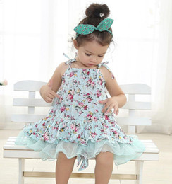 Wholesale Girls Vintage Style Dress - baby girl kids vintage flower tutu dress floral tutu dress pettiskirt tulle skirt lace dress tube dress ballet dress princess pink
