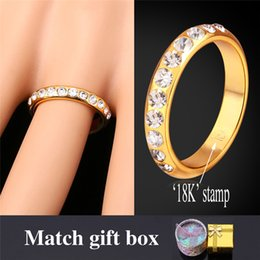 Wholesale Tension Bands - 18K Real Gold Plated Unisex Band Couple Ring With Gift Box Fashion Jewelry Clear Austrian Crystal MGC R926