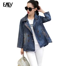 Wholesale Long Female Jeans Skirts - Wholesale- Denim Jackets Ladies Spring Herfst Plus Size Embroidered Long Sleeve Female Jaqueta Feminina Jeans Coat Women Basic Coats Blue