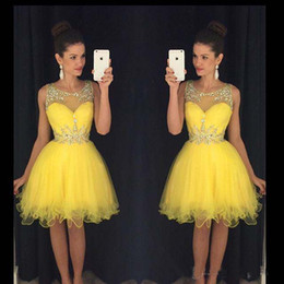 Wholesale Yellow Ball Wedding Dresses - Homecoming Dresses 2016 Wedding Party Dresses Knee Length Junior Bridesmaid Dresses Sheer Ball Gowns Short Prom Dresses with Crystals