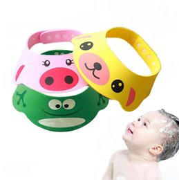Wholesale Shower Caps For Kids - 3 Style Colour Resizable Baby Shower Caps Cartoon Cute Childen EVA Matirial Shampoo Wash Hair For Kids