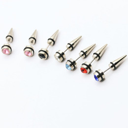 Wholesale Steel Saddles - 316 Stainless Steel Earrings Screw Top Saddle Plug Ear Plug Earrings Body Jewelry Body Piercing Jewelry Men's Rhinestone Stud Earrings