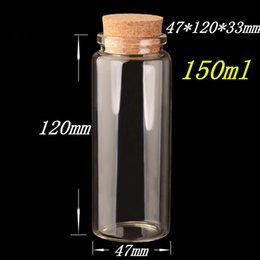 Wholesale Glass Jars Wood - 47*120*33mm 150ml Glass Bottles With Cork Clear Transparent Glass Jars Empty Wishing Bottles Wood Stopper 12pcs lot