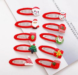 Wholesale Cute Kid Hair Claw Clips - Christmas Hair clips snap clips for baby toddlers girls children cute designs mix up kids Christmas Hair accessories wholesale free shipping