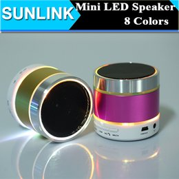 Wholesale Beatbox Portable Mini Bluetooth Speaker - DHL S09 Mini Wireless Bluetooth Speaker 3 LED Light Ring Super Bass Metal Portable BeatBox Hi-Fi Handfree Mic Stereo Music Player FM Radio