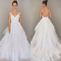 Wholesale Silver Dress Small Train - 2016 Sexy Wedding Dresses Bridal Gowns Backless Spaghetti Strapsl Lace Appliques Ruffled Tulle Skirt with Small Train Custom Made