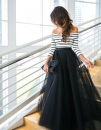 Wholesale Denim Tulle - Women Slash Neck Striped Tops+Black Mesh Skirts Outfits Multi Layer Tulle Pleated Retro Long Maxi Tutu Skirts Clothes
