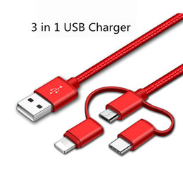 Wholesale metered braid - DHL Fedex Shipping 1 Meter 3 in 1 Charger Braided USB Micro Chargers Durable Type C Cable Android Iphone 5 5S 6S 7