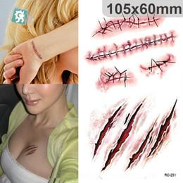 Adesivi per la cicatrice online-Adesivi tatuaggio di Halloween Simulazione burla sangue cicatrice tatuaggi ferita cicatrice Halloween effetti speciali trucco Body painting tatuaggi impermeabili