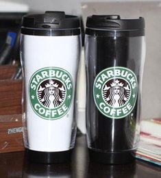 Wholesale Coffee Warmers Wholesale - New Style Starbucks Cup Plastic Warm Keeping Mug Coffee Cup Mark cup 420ML Travelling Portable Cup