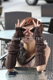 Wholesale Wool Fur Fingerless Long Gloves - Wholesale-2 pairs Long Gloves Arm Sleeve Rabbit Fur and Wool Twist the Knitting Women Arm Mitts Shape Wristband