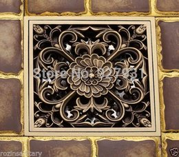 Free Shipping Wholesale And Retail Antique Brass Bathroom Floor Register  Drain Waste Grate 4 Inch Square 1001#01