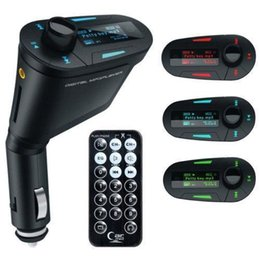 Wholesale Red Light Wireless - Car Kit MP3 Player Wireless FM Transmitter Modulator wma wireless USB SD MMC LCD With Remote Blue red Light DHL shipping