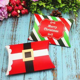 Wholesale Packing Boxes Supplies - Christmas Pillow Cookies Sugar Sweet Box Santa Claus Candy Treat Favor Boxes Xmas Gift Packing Box wen4790